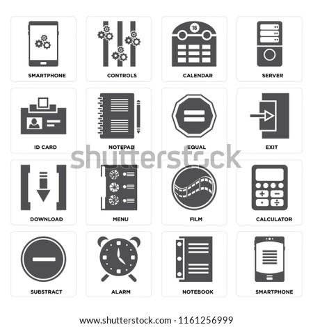 Set Of 16 icons such as Smartphone, Notebook, Alarm, Substract, Calculator, Id card, Download, Equal, web UI editable icon pack, pixel perfect