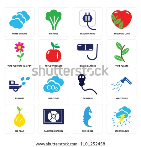 set of 16 icons such as storm