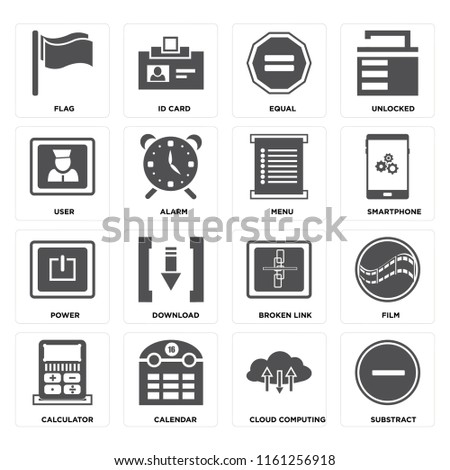 Set Of 16 icons such as Substract, Cloud computing, Calendar, Calculator, Film, Flag, User, Power, Menu, web UI editable icon pack, pixel perfect