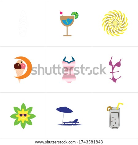 set of 9 icons such as surf