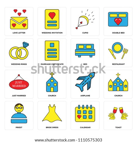 set of 16 icons such as toast