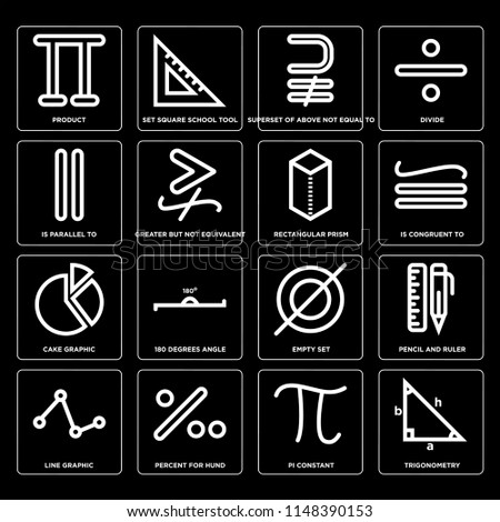 Set Of 16 icons such as Trigonometry, Pi constant, Percent for hund, Line graphic, Pencil and ruler, Product, Is parallel to, Cake Rectangular prism, web UI editable icon pack, pixel perfect