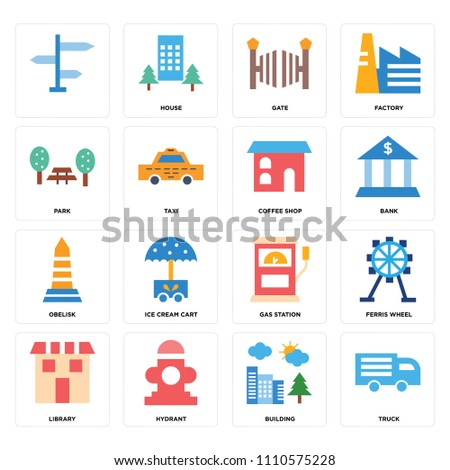 set of 16 icons such as truck