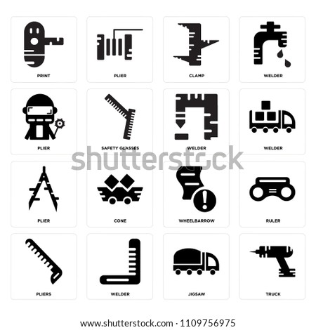 Set Of 16 icons such as Truck, Jigsaw, Welder, Pliers, Ruler, print, Plier, web UI editable icon pack, pixel perfect