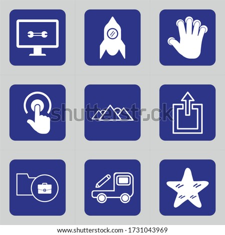 Set of 9 icons such as tv, options, equipment, monitor, tool, game, nasa, exploration, aliens
