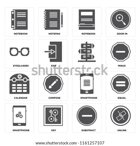 Set Of 16 icons such as Unlink, Substract, Key, Smartphone, Equal, Notebook, Eyeglasses, Calendar, , web UI editable icon pack, pixel perfect