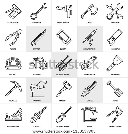Set Of 25 icons such as Wire cutter, Drill, Screwdriver, Chisel, Wood plane, Hacksaw, Power saw, Mallet, Pickaxe, Pliers, Paint brush, Spanner, web UI editable icon pack, pixel perfect
