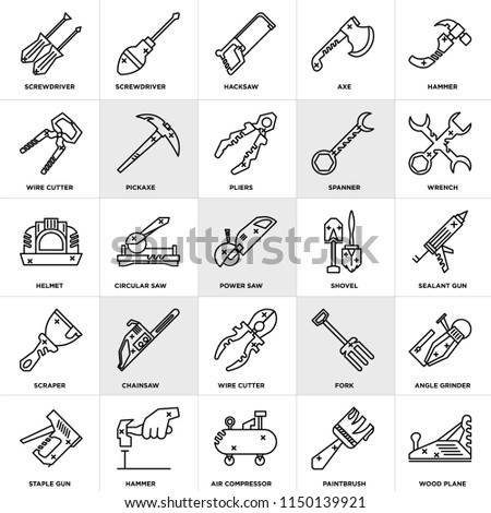 Set Of 25 icons such as Wood plane, Paintbrush, Air compressor, Hammer, Staple gun, Wrench, Shovel, Wire cutter, Scraper, Hacksaw, Screwdriver, web UI editable icon pack, pixel perfect