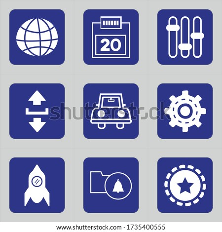 Set of 9 icons such as world, globe, sign, wifi internet, internet, network, date, calendar, schedule