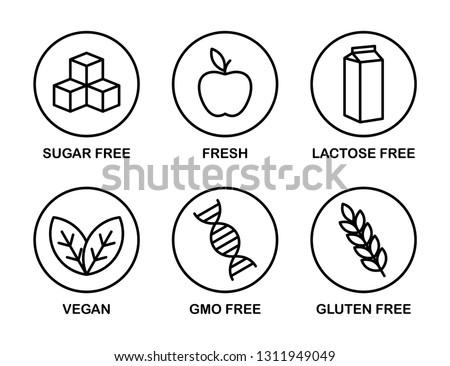 Set of icons: Sugar Free, Gluten Free, Vegan, Lactose Free, GMO Free, Fresh. Black and white.
