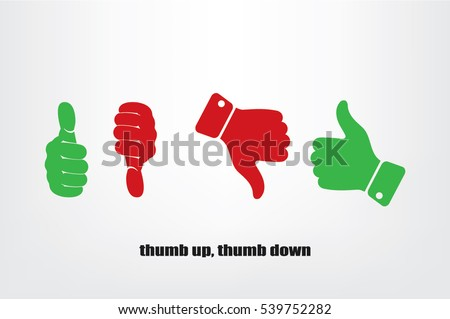Set of icons: thumb up, thumb down circle icon, green and red silhouettes. Sign vector illustration of Eps10. Isolated badges for website or app - stock infographics