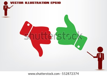 set of icons: thumb up, thumb down  vector illustration eps10. Isolated badges for website or app - stock infographics