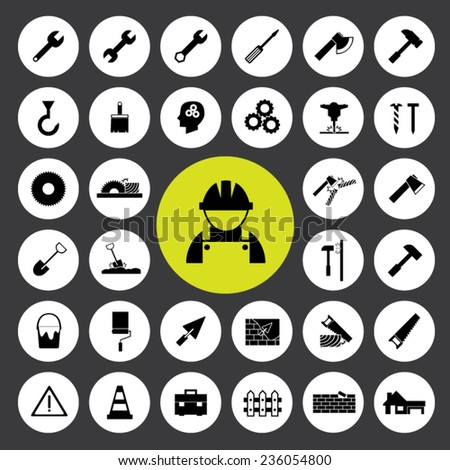 Set of icons vector illustration eps10 : Construction tools icons.