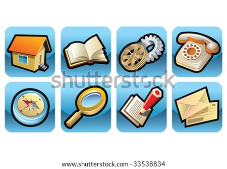 Set of 8 icons, web oriented, glossy buttons, vector illustration