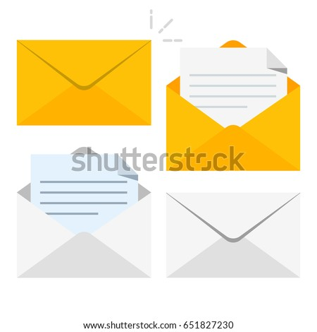 Set of icons with a picture of a closed letter. Paper document enclosed in an envelope. Delivery of correspondence or office documents. Vector illustration isolated on white background.
