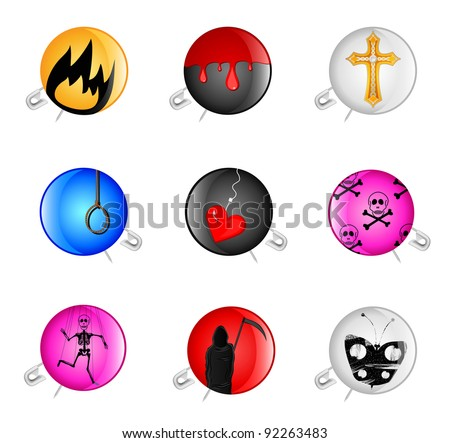 set of icons with a pin and a