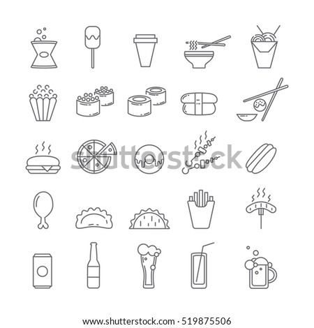 Set of icons with food