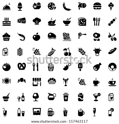 Set of icons with food and drinks for restaurant or commercial
