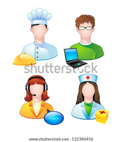set of icons with people