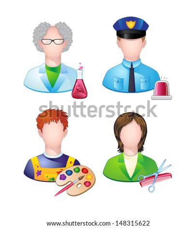 Set of icons with people profession. Vector.