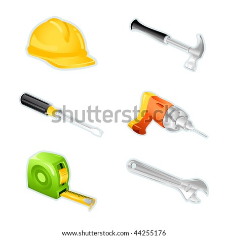 Set of icons with tools