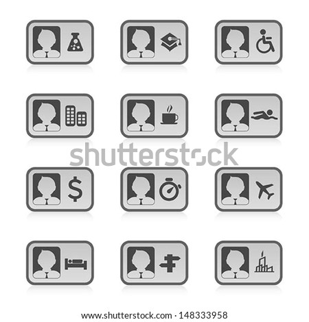 set of Identification card icon, vector