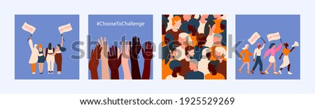 Set of illustration for International women's day campaign theme Choose To Challenge. 8th march. Vector template in flat style for greeting card, postcard, banner, flyer and other. Photo stock ©