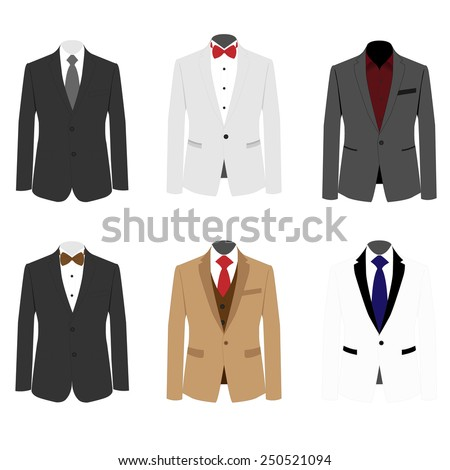 Set of 6 illustration handsome business suit