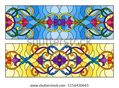 Set of illustration in stained glass style with abstract  swirls,flowers and leaves  on a blue and yellow backgrounds,horizontal orientation