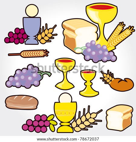 Set of illustration of a communion depicting traditional christian