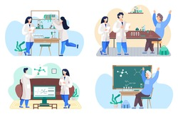 Set of illustrations about communication and studying chemistry at school. Scientists in lab coats monitoring research. Chemists work with sheets of paper. Molecule model on blackboard on background