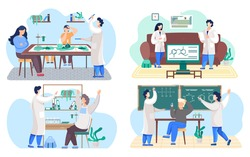 Set of illustrations about education and studying chemistry at school. Teachers explain formulas on the blackboard to a student. Research in the classroom. Scientists collaborate during research