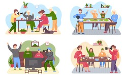Set of illustrations about guy taking pictures. Filming of a family spending time in an apartment. The guys are sitting on the couch with gamepads in their hands. People playing board games