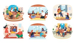 Set of illustrations about musicians with guitar entertain people playing board game in apartment. Performing songs live. Guitarists with musical instruments. People have fun and play games with music