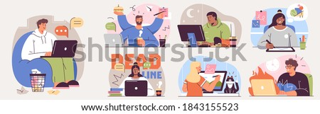 Set of illustrations about remote work and freelance. Freelancers at work and working distantly concept illustrations. Vector