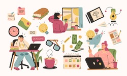 Set of illustrations about remote work. Freelancers at work and working distantly concept illustrations. Vector