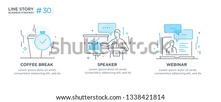 Set of illustrations concept with business concept. Workflow, growth, graphics. break, rest, presentation, online, school. linear illustration Icons infographics. Landing page site print poster. Eps