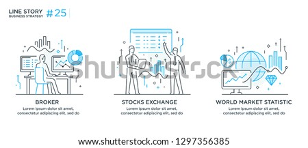 Set of illustrations concept with business concept. Workflow, growth, graphics. Business development, milestones, start-up. linear illustration Icons infographics. Landing page site print poster. Eps