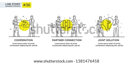 Set of illustrations concept with businessmen. technology, partnership, connection, business robot, cyber. linear illustration Icons infographics. Landing page site print poster. Eps vector. Line