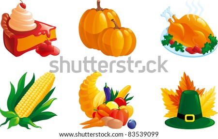set of illustrations for thanksgiving. Corn, pie, Turkey-cock, pumpkin. Cornucopia, hat and leaves. - stock vector