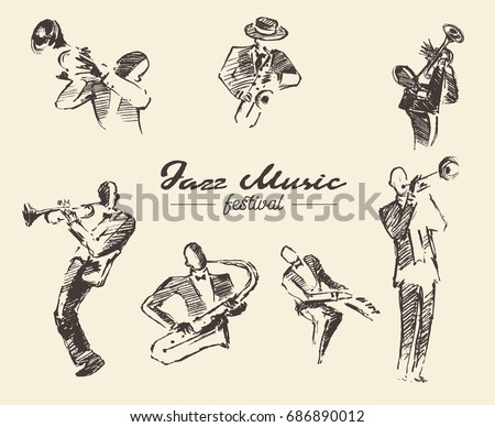 set of illustrations of a jazz