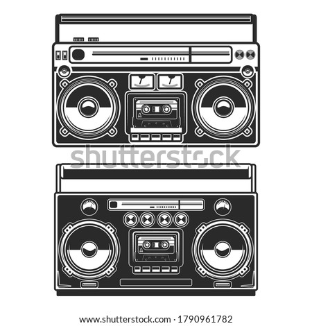 Set of Illustrations of boombox isolated on white background. Design element for poster, card, banner, logo, label, sign, badge, t shirt. Vector illustration Stockfoto ©