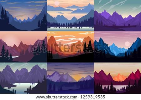 Set of illustrations of cartoon mountain landscapes. Design element for poster, card, banner, flyer. Vector illustration