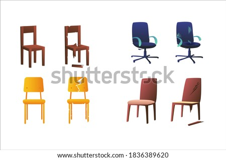 Set of illustrations of chairs on a white background. Office chairs, school chairs and office chair. Broken chair repair. Shabby, tornchairs.