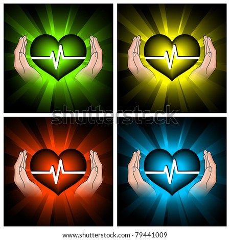 set of illustrations of color hearts and hands