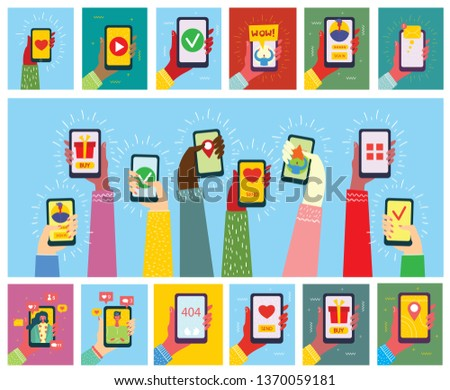 Set of illustrations of hand holding smartphone with new message on screen. Chat, email messaging, sms, mobile concepts for web sites, web banners in modern flat design