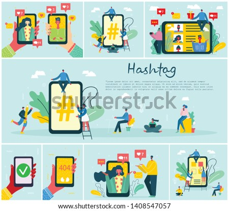 Set of illustrations of hand holding smartphone with new message on screen. Chat, email messaging, hashtag, sms, mobile concepts for web sites, web banners in modern flat design