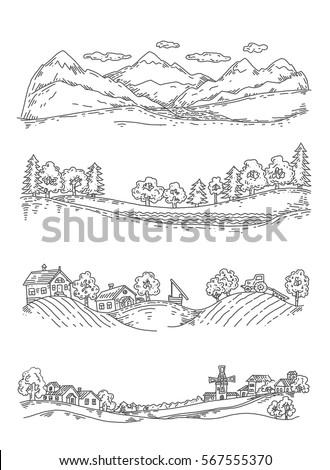 set of illustrations of