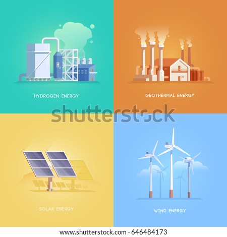 Set of illustrations on the themes of alternative energy, solar, wind, geothermal and hydrogen energy. Vector illustrations.