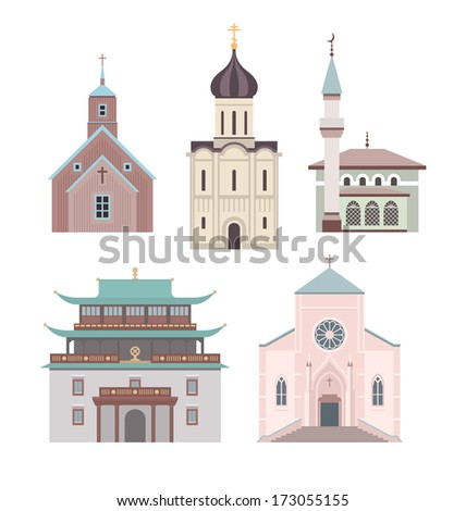 Set of illustrations showing different styles of architecture for classical church buildings of various religions